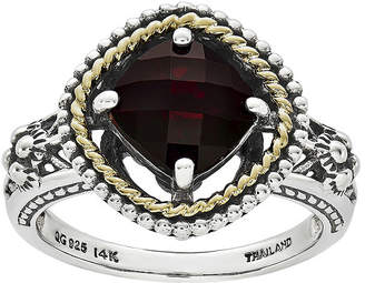 Couture FINE JEWELRY Shey Genuine Garnet Sterling Silver and 14K Yellow Gold Cushion Ring