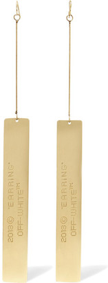 Off-White - Engraved Gold-tone Earrings - one size $165 thestylecure.com