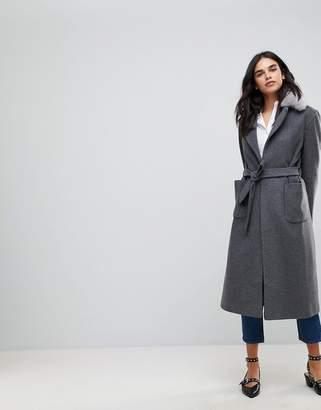 Helene Berman Belted Duster Faux Fur Collar Coat