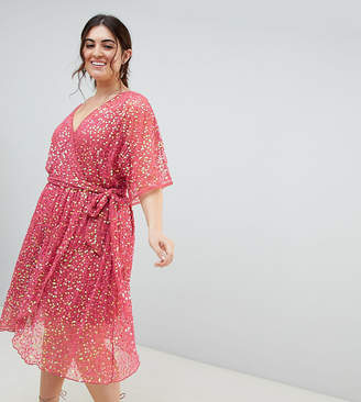 Asos DESIGN Curve kimono sequin wrap dress
