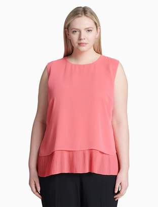 Calvin Klein plus size layered pleated split back sleeveless top