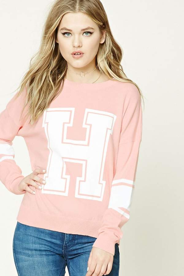 FOREVER 21+ H Graphic Varsity Sweater