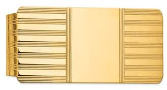 Black Bow Jewelry Company Men's 14k Yellow Gold Striped Engravable Center Fold-Over Money Clip