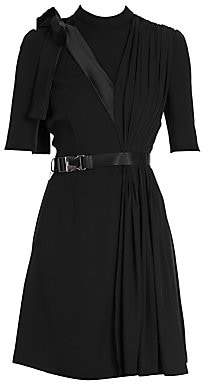 Prada Women's Drape Detail Belted Mockneck Dress