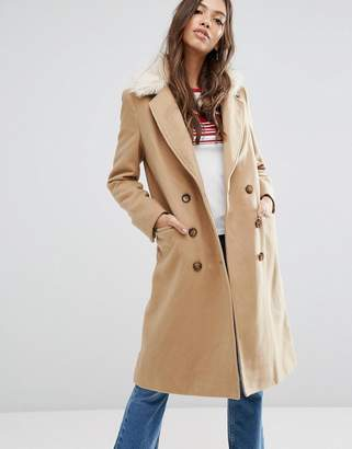 Brave Soul Ashwich Double Breasted Coat With Faux Fur Collar