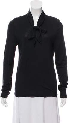 Magaschoni Silk And Cashmere Blend Long Sleeve Top