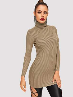 Shein Turtleneck Rib Knit Jumper