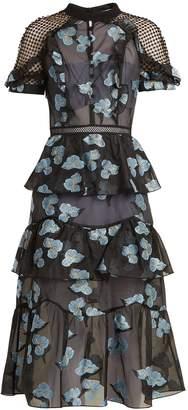 SELF-PORTRAIT Open-back floral fil coupé midi dress