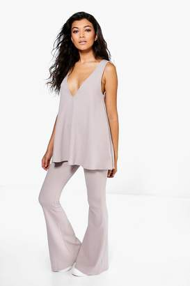 boohoo Swing Top & Flared Trousers Co-Ord Set