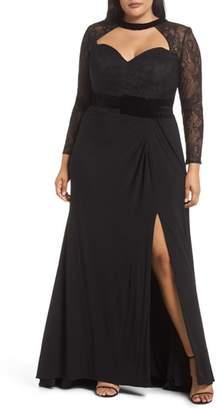Mac Duggal Lace Sleeve Cutout Gown