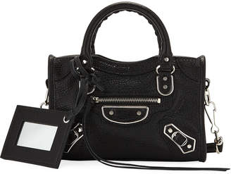 Balenciaga Metallic Edge Nano City AJ Crossbody Bag, Black