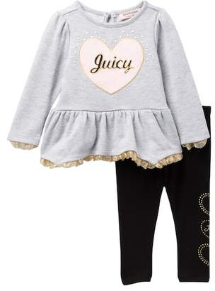 Juicy Couture Heart Applique Tunic & Leggings Set (Baby Girls)