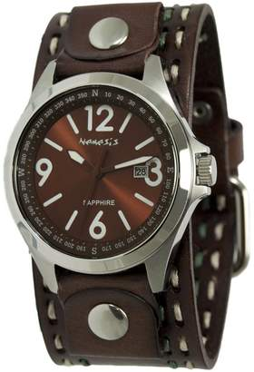 Nemesis Men's 'Sapphire' Quartz Stainless Steel and Leather Casual Watch, Color Brown (Model: DDST251B)