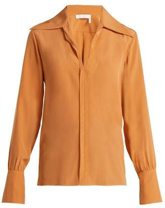 Chloé Wide Collar Silk Blouse - Womens - Light Brown