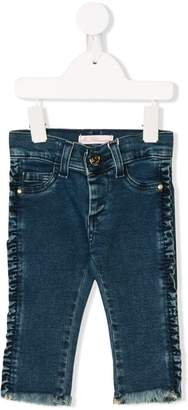Miss Blumarine ruffled side jeans