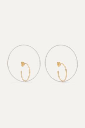 Charlotte Chesnais Saturn Large Gold Vermeil And Silver Earrings