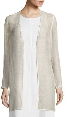 Eileen Fisher Linen-Blend Mesh Jacket $258 thestylecure.com