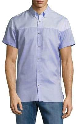 Calvin Klein Colorblock Cotton Button-Down Shirt