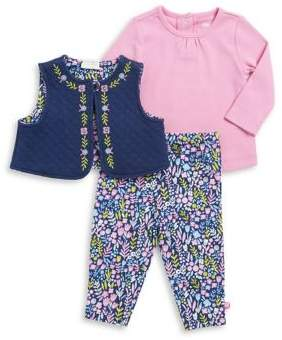 Offspring Baby Girl's Three-Piece Cotton Top, Vest and Leggings Set