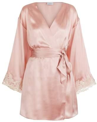 La Perla Maison Powder Pink Silk Satin Short Robe With Frastaglio