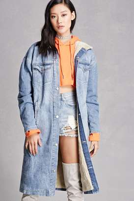 FOREVER 21+ Faux Shearling Denim Jacket $98 thestylecure.com
