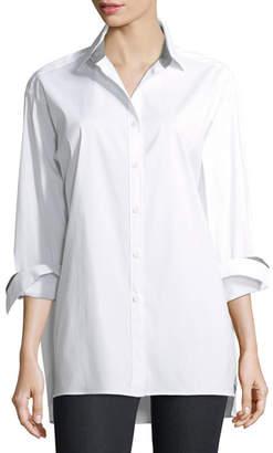 Lafayette 148 New York Jessie Long-Sleeve Stretch-Cotton Blouse