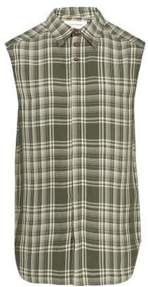 Wales Bonner Sleeveless Checked Shirt - Mens - Green