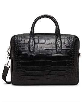 HUGO BOSS Elite Croc Embossed Leather Single Zip Briefcase