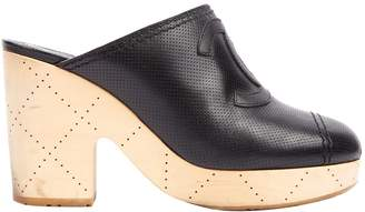 Chanel Black Leather Mules & Clogs