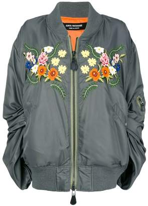 Junya Watanabe ruched sleeve embroidered floral bomber jacket