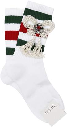 Gucci Striped Socks W/ Embellished Bow