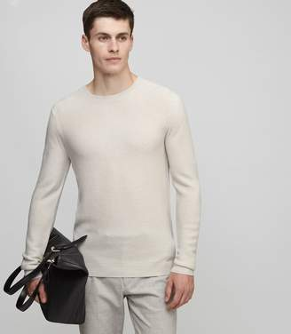 Reiss PRINCE RIBBED CREW-NECK JUMPER Stone