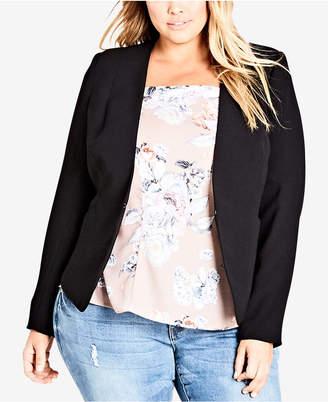 City Chic Trendy Plus Size Laced-Back Blazer