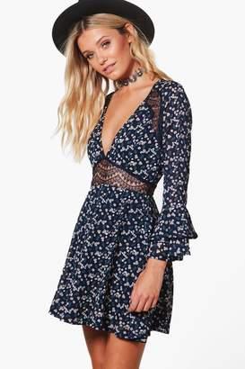 boohoo Floral Lace Insert Waist Skater Dress