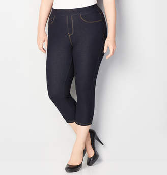Avenue Knit Denim Pull-On Capri in Rinse