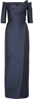 Monique Lhuillier Off-the-shoulder Satin Gown - Navy