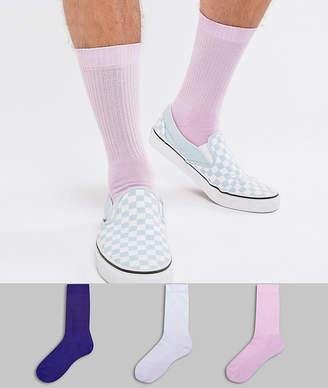 Asos DESIGN sports style socks in lilacs 3 pack