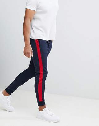 Pull&Bear Joggers With Side Stripe In Navy