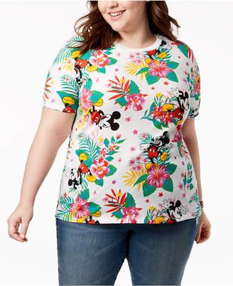 Disney Plus Size Mickey Mouse Tropical-Print T-Shirt