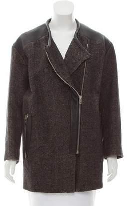 IRO Leather-Trimmed Linen-Blend Coat
