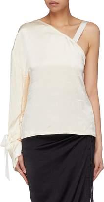 Elissa McGowan Bow cuff satin one-shoulder blouse