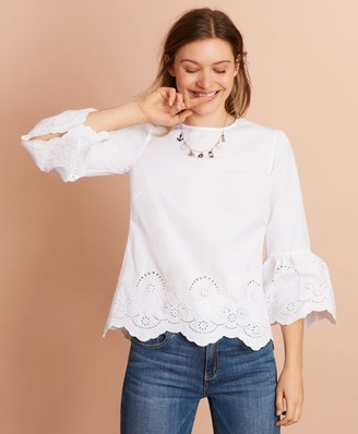 Brooks Brothers Eyelet-Detail Cotton-Poplin Bell-Sleeve Blouse