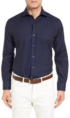 Men's Peter Millar Regular Fit Silky Herringbone Sport Shirt $198 thestylecure.com