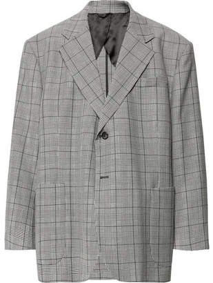 Raf Simons Grey Oversized Prince Of Wales Checked Virgin Wool And Mohair-Blend Blazer
