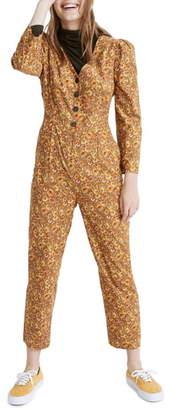Madewell Mumbai Floral Print Corduroy Puff-Sleeve Jumpsuit