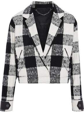 Belstaff Checked Leather-Trimmed Bouclé-Tweed Cotton-Blend Jacket