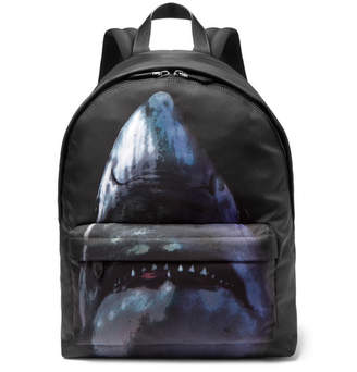 Givenchy Leather-Trimmed Shark-Print Canvas Backpack - Black