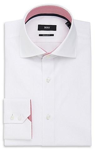 HUGO BOSS Eraldin Regular Fit, Spread Collar Easy Iron Cotton Dress Shirt - White