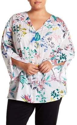 Joe Fresh Floral Split Sleeve Blouse (Plus Size)