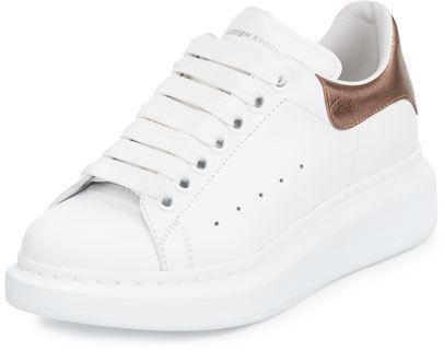 Alexander McQueenAlexander McQueen Leather Lace-Up Platform Sneaker, White/Rose Gold